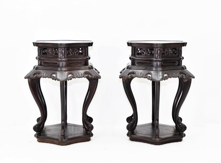 PAIR OF HUANGHUALI HEXAGONAL FLORI-FORM STANDS