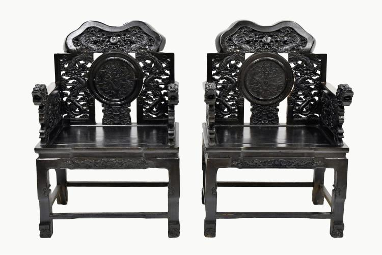 PAIR OF CARVED ZITAN MASTER CHAIRS