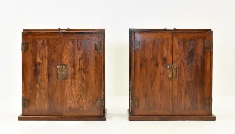 PAIR LARGE CRAFTED HUANGHUALI DOUBLE DOOR DOWRY WEDDING CHESTS