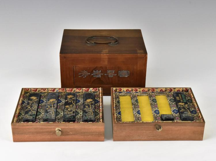 SET OF 5 PCS INK STONES W/ DOUBLE DRAWERS WOODEN BOX