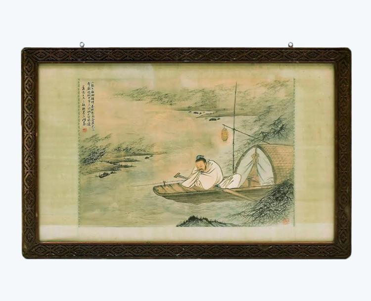 FRAMED WATERCOLOR PAINTING OF SCHOLAR SEATED ON BOAT