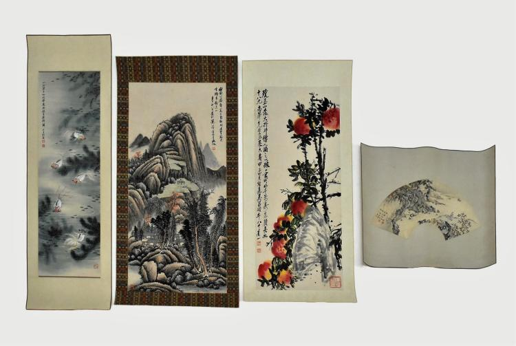 SET OF 4 PCS CHINESE SCROLL AND FAN PAINTING