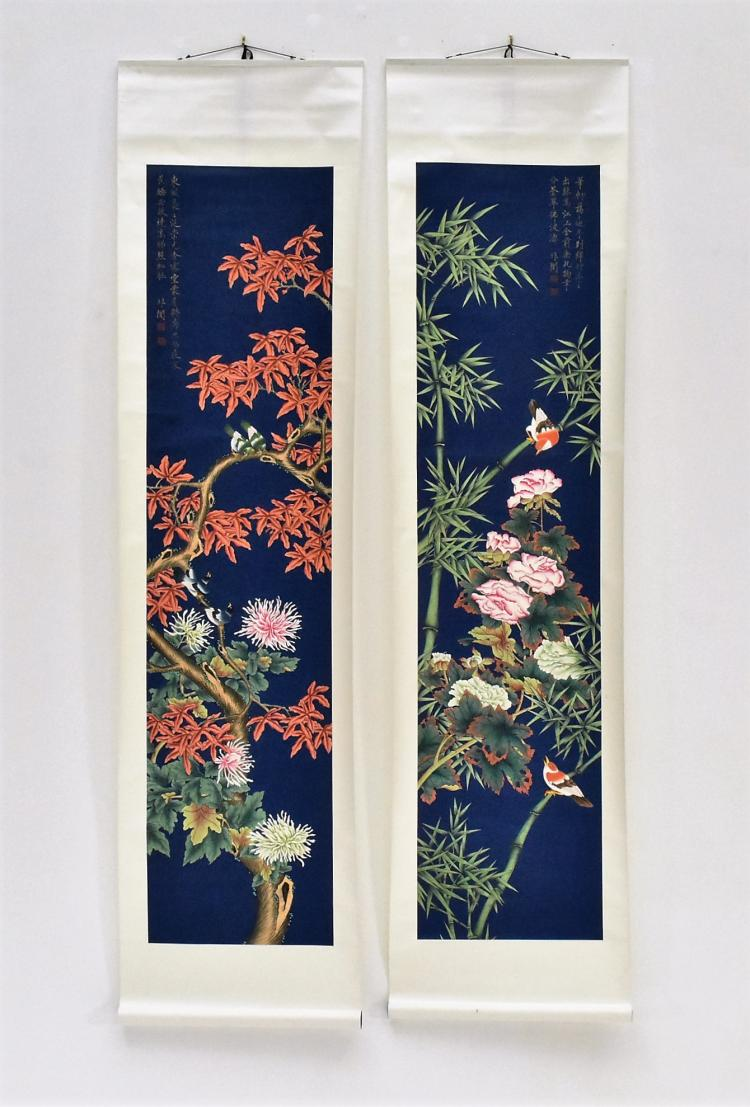 PAIR OF CHINESE SCROLL PAINTINGS OF FLOWERS ON ROYAL BLUE GROUND