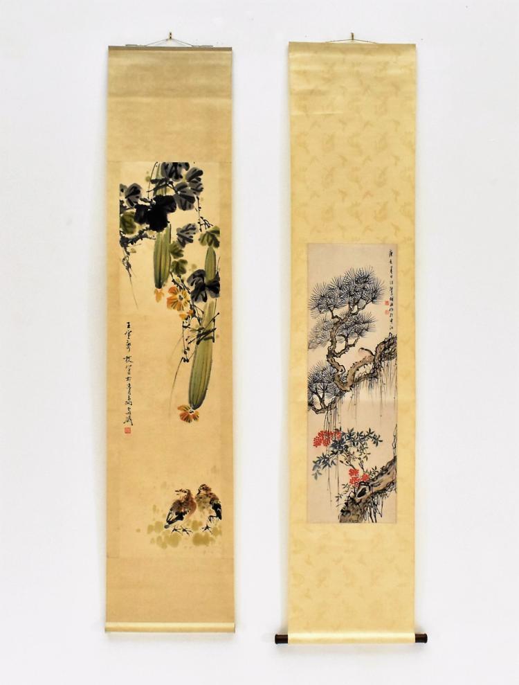SET OF 2 PCS CHINESE SCROLL PAINTINGS