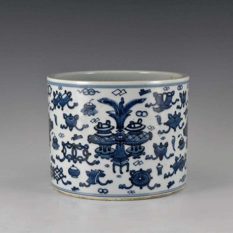 BLUE & WHITE HUNDRED TREASURES PORCELAIN BRUSH POT