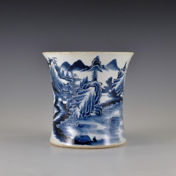 KANGXI BLUE AND WHITE LANDSCAPE SCENERY BRUSH POT