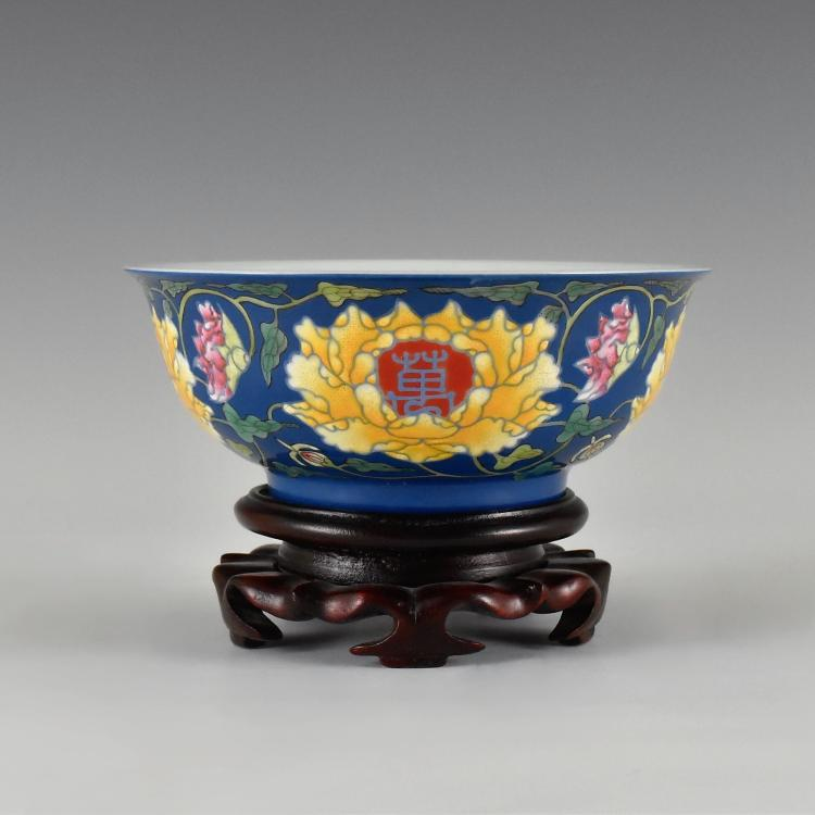 LONGEVITY FLOWER ON BLUE GROUND BOWL ON STAND