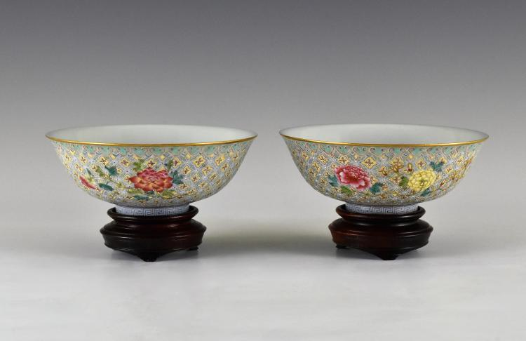 PAIR OF PEONY PORCELAIN RICE BOWLS