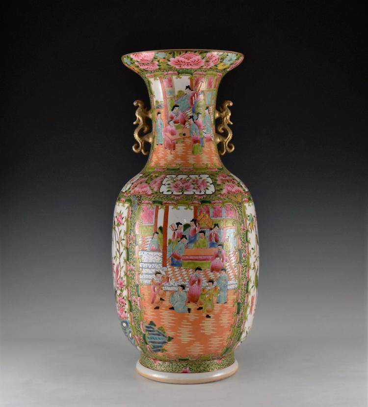 GILT FAMILLE ROSE CANTON FLOOR VASE