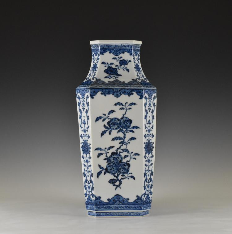 BLUE AND WHITE OCTAGONAL FACETED BALUSTER VASE