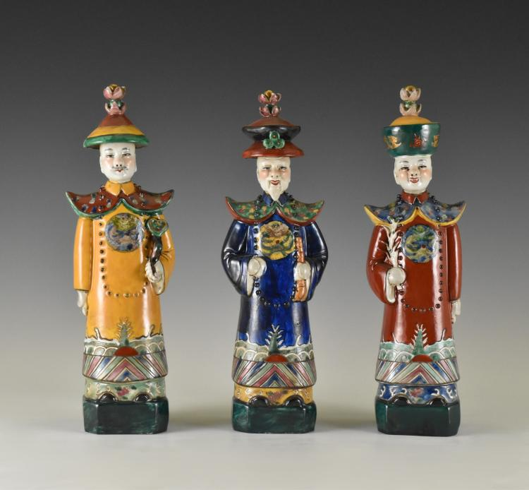 SET OF 3 PCS 20TH C STANDING OFFICIALS PORCELAIN FIGURINES