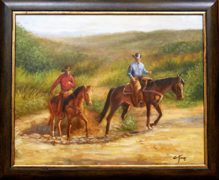 2 COWBOYS/HORSEBACK