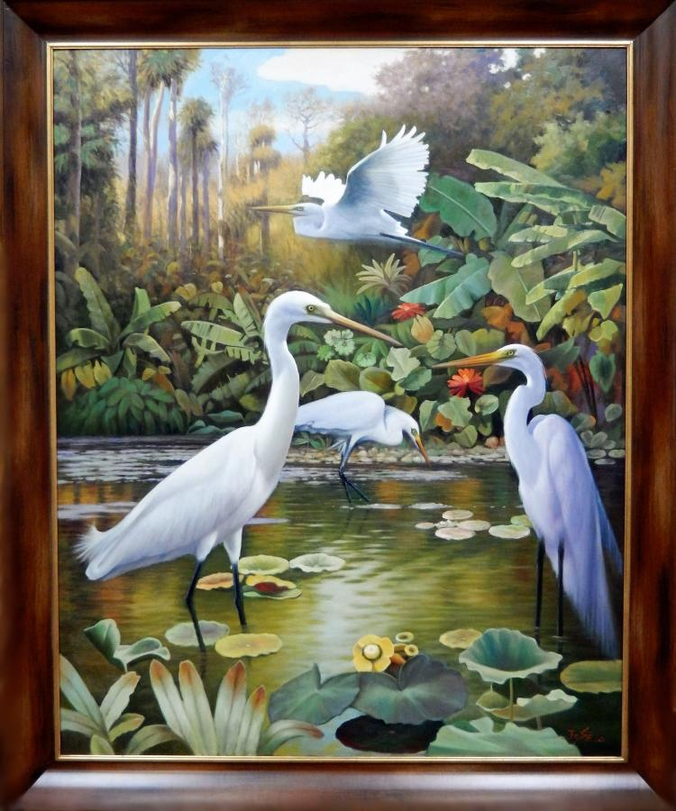 JC SEO, EGRETS IN TROPICAL LANDSCAPE