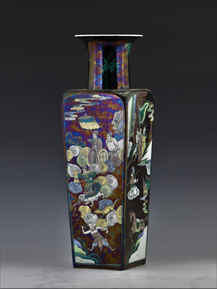 chinese kangxi famille noir square vase. Black Bedroom Furniture Sets. Home Design Ideas