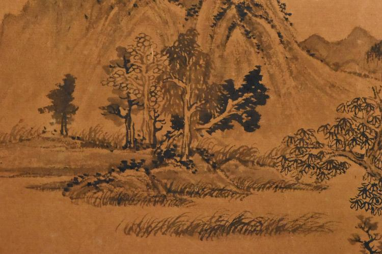 Qing dynasty landscape long painting scroll for Dynasty mural works
