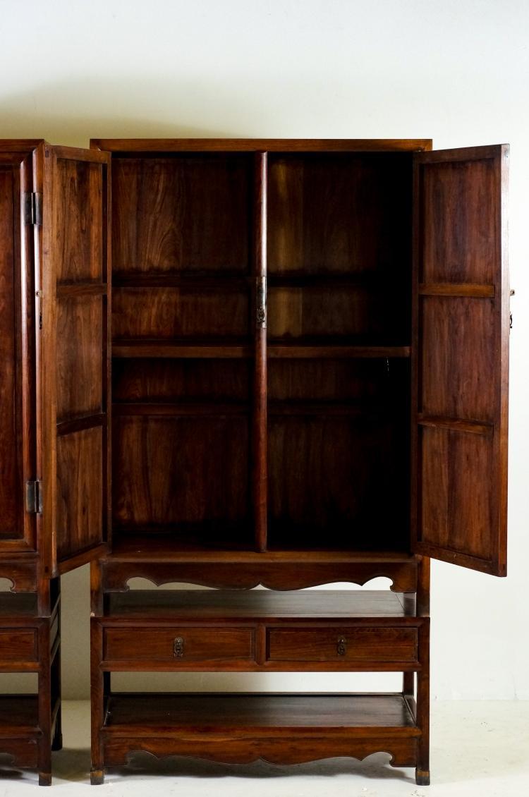 Pair Huanghuali Round Corner Drawers Cabinets