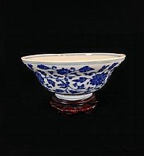 Chinese Blue and White Bowl w/ Stand