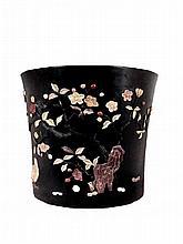 Chinese jadeite Inlaid Large zitan Brush Pot