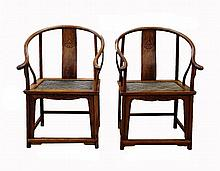 Pair of Antique Chinese HuangHuali Round Chairs