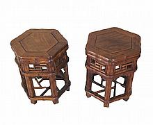 Pair of Chinese HuangHuaLi Hexagonal Stands