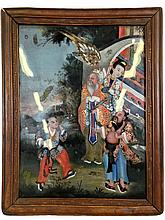 19th C Chinese Framed Reverse Painting on Glass.