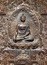 Antique Chinese Framed Bronze Buddha Wall Plaque