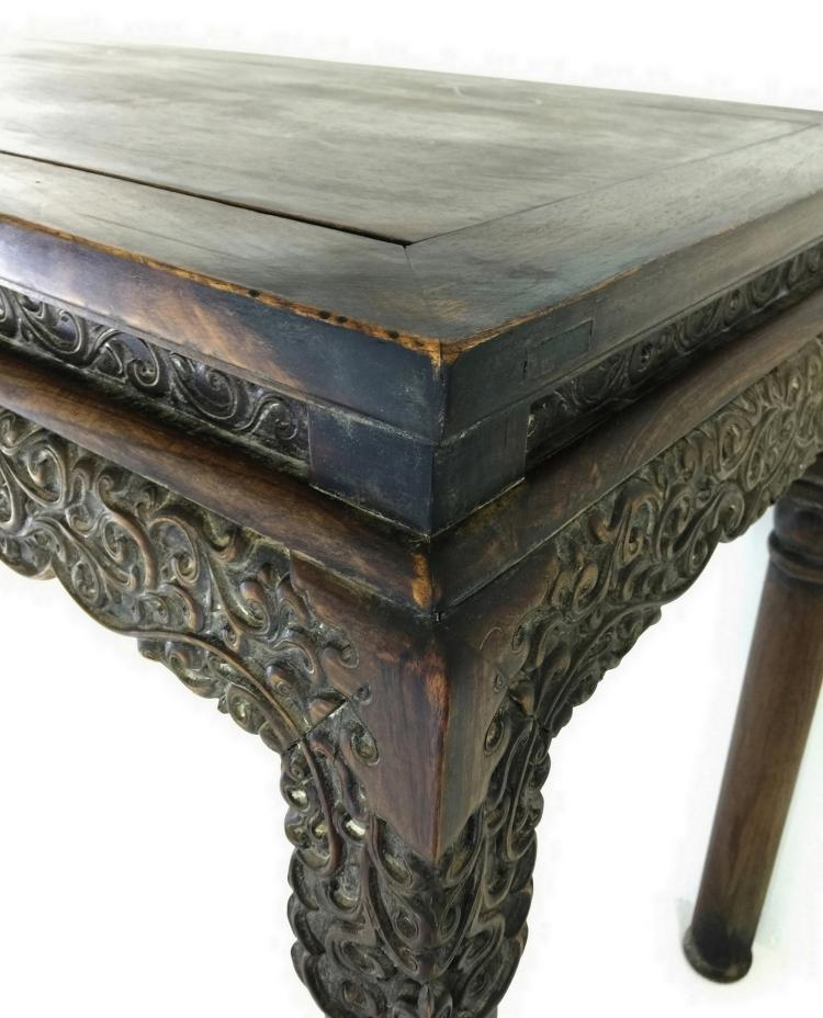 Fine Carved Huanghuali Scretcherless Table 19th C