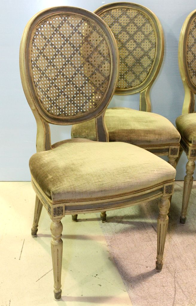 Set Of 4 Painted With Cane Back Louis Xvi Style Dining Chair