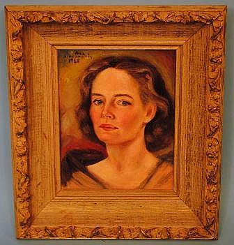 Vera L. Stephenson 1968 Painting, Self Portrait