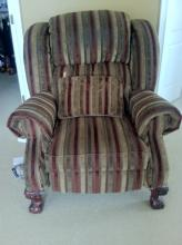 Black Gold Recliner with Mahogany Legs