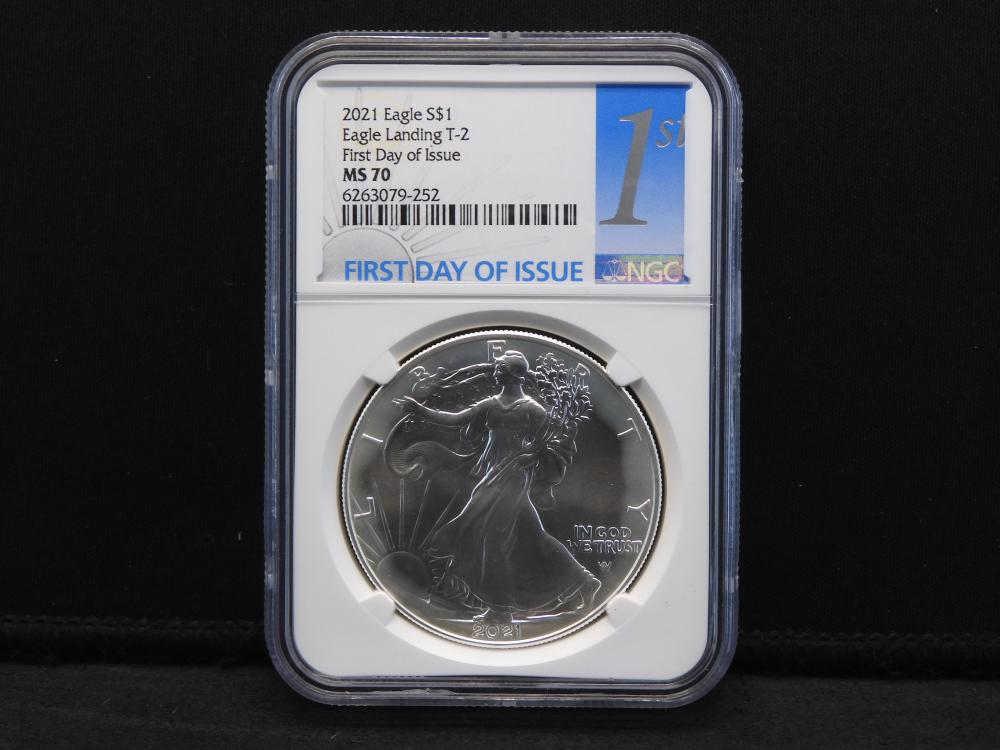 2021 NGC MS70 First Day of Issue - Eagle Landing Type 2 American Silver Eagle