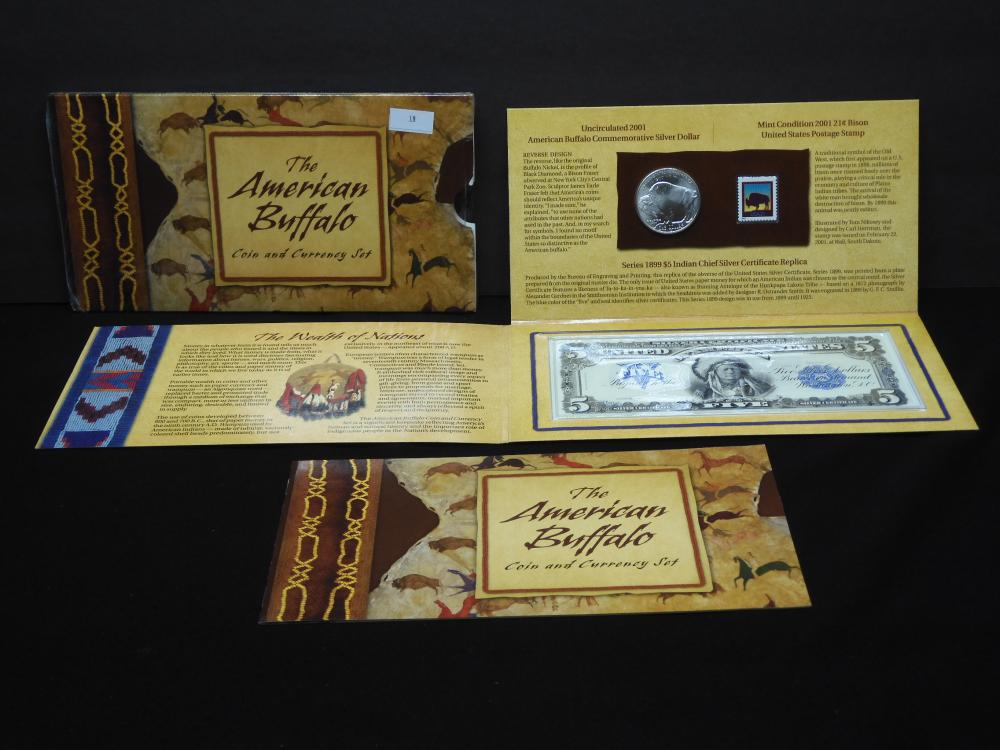 The American Buffalo Coin & Currency Set OGP w/ Commem. Silver Dollar & $5 Silver Cert. Replica
