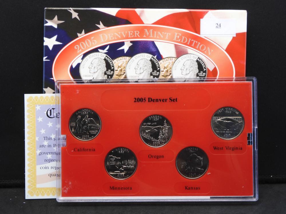 2005 Denver Mint Statehood 5 Quarter Set w/ Colorful Folder