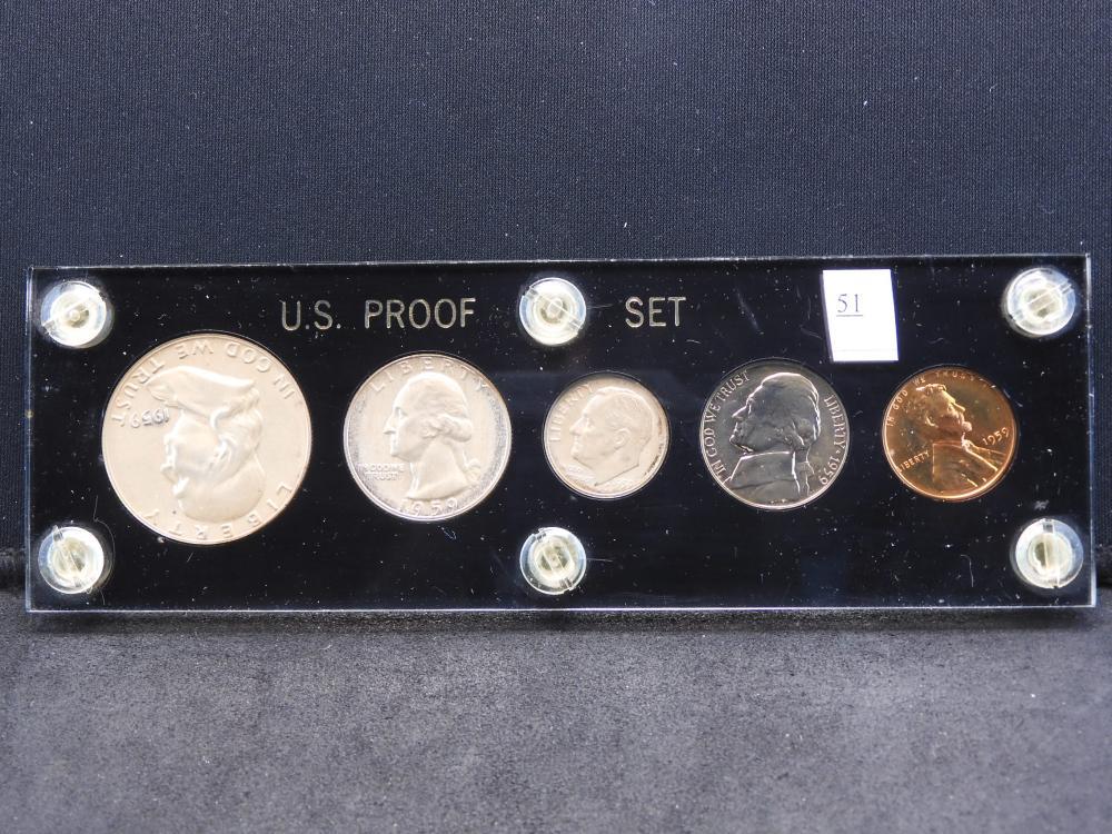 1959 U.S. Proof Set in Hard Plastic Holder W/90% Silver Franklin Half & Washington Quarter