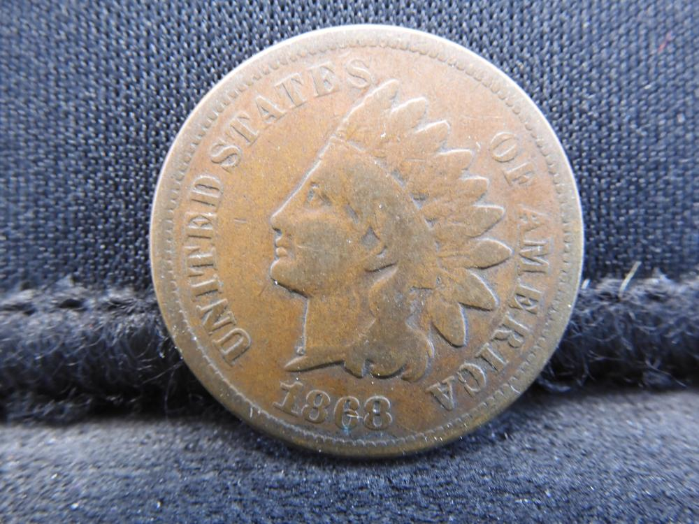 1868 Indian Head Cent - VG Fine Condition - Key Date!