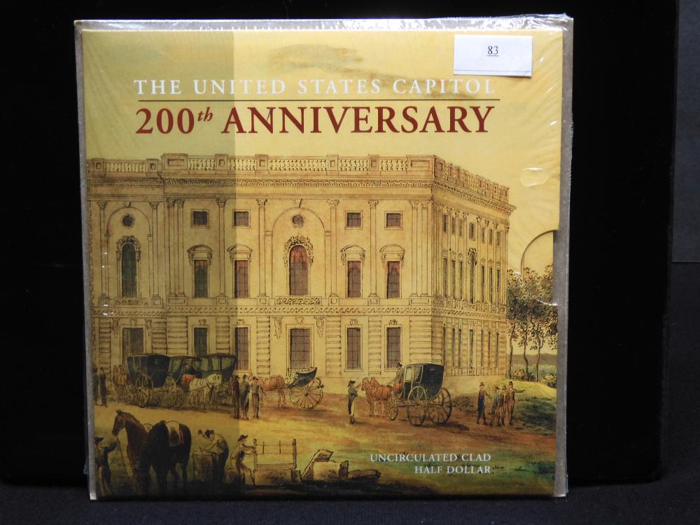 The U.S. Capitol 200th Anniversary Unc Clad Half Dollar - in Beautiful Folder - Unopened