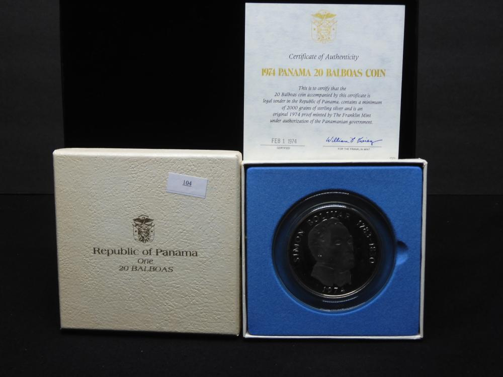 1974 Republic of Panama - Panama 20 Balboa Coin - 4.2 Oz.-.925 Sterling Silver PROOF