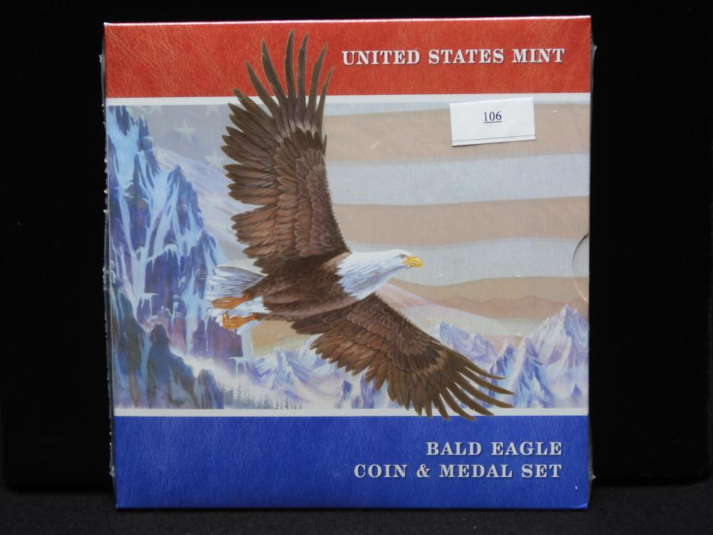 U.S. Bald Eagle Coin & Medal Set w/ 2008-P Uncirculated Silver Dollar - Still Sealed!