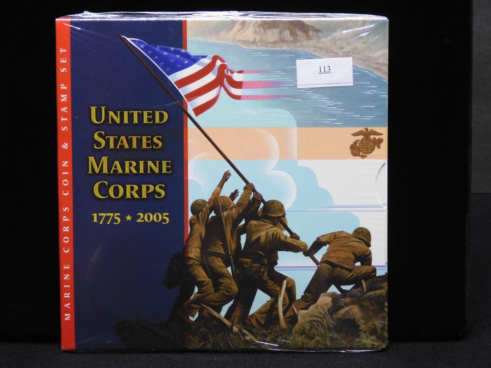 U.S. Marine Corps 1775-2005 Commem. Set Includes 2005 USMC Unc. Silver Dollar & 3 Cent Iwo Jima - Still Sealed!!
