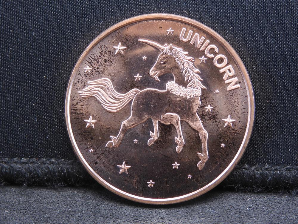 Copper - 1 Oz.-.999 Fine Round Featuring the Unicorn
