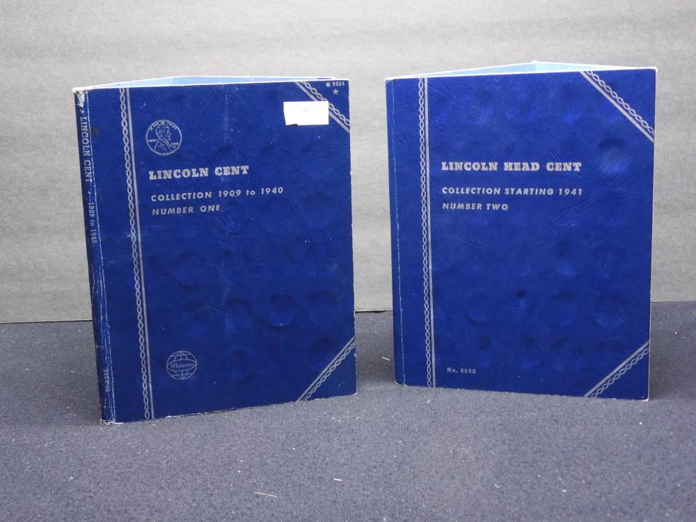Whitman Albums 9004 & 9030 - Partial Collections of Lincoln Cents - 1909 to 1940 & Starting 1941-1969 -121 Coins
