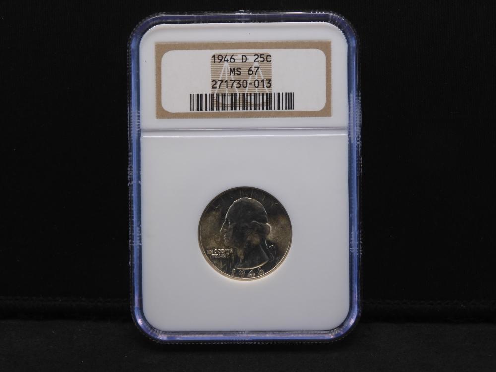 1946-D NGC MS67 Washington 90% Silver Quarter - Nice & Bright!!