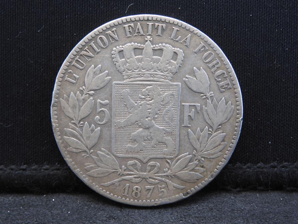 1875 Belgian 5 Franc SILVER Coin. Neat Piece!!
