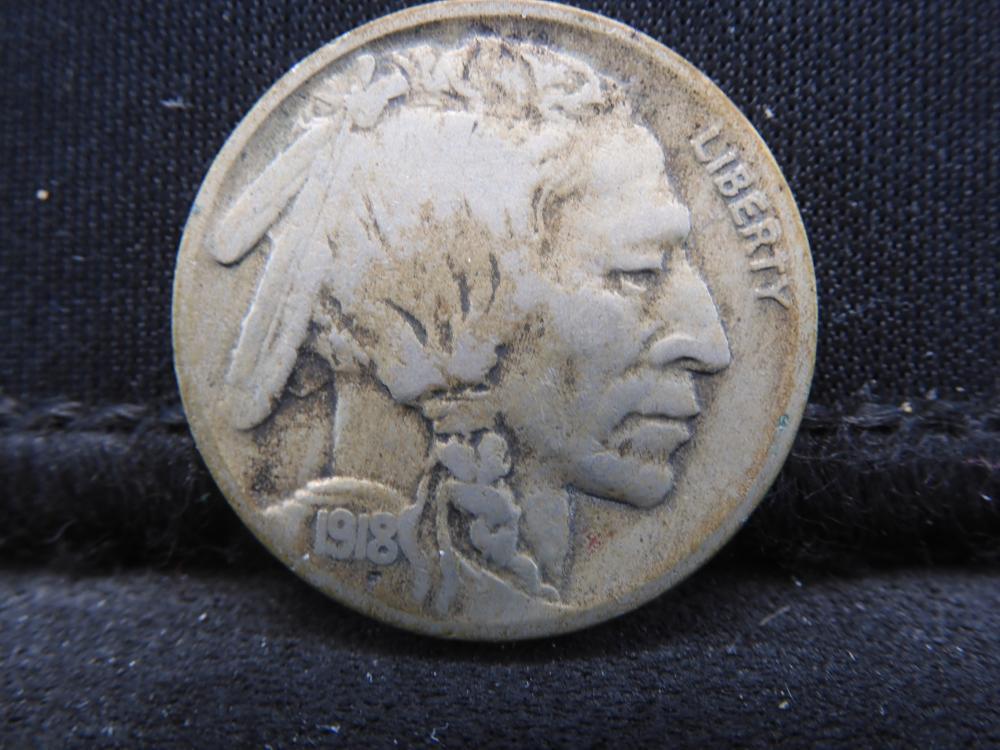 1918-D Buffalo Nickel Tough Date Nice Mid Grade!