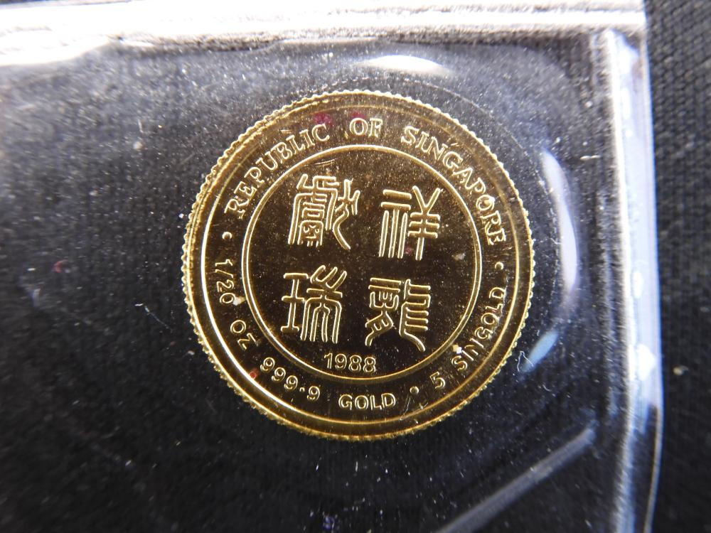 1988 Singapore 1/20 oz. GOLD Dragon. In Original Sealed Pouch
