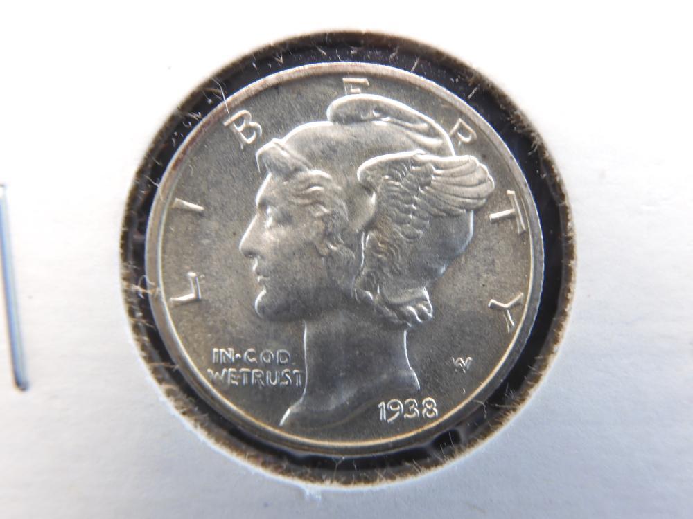 1938-D Mercury Dime. GEM UNC w/ SPLIT BANDS!!