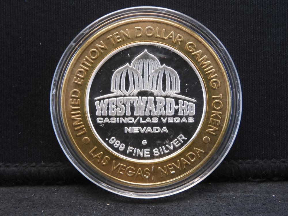Casino Token $10 Limited Edition - .999 Fine Silver Center - Westward-Ho Casino - Verne Cagne - Las Vegas, NV