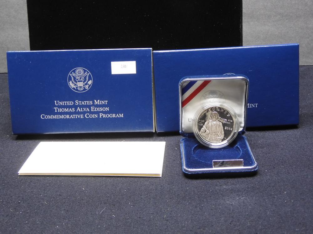 2004-P Thomas Alva Edison Commem. Proof Silver Dollar OGP
