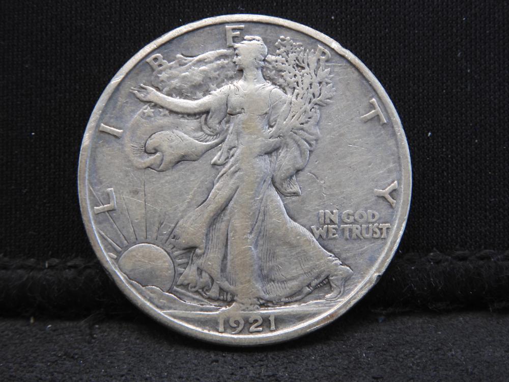 KEY DATE 1921-S Walking Liberty Half Dollar VF+
