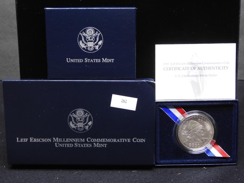 2000-P U.S. Leif Ericson Millennium Commem. Uncirculated Silver Dollar OGP